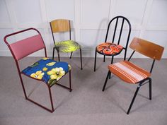 Vintage retro Mixed batch dining chairs set