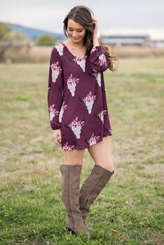 Texas Dust Bull Skull Long Sleeve Skift Dress (Wine) - NanaMacs.com - 4