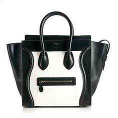 Handbag Celine Mini Luggage Tote Leather Bag Black White | eBay