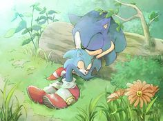 Classic Sonic and Modern Sonic. This is just too adorable for words!