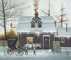 Artifacts Gallery - Belly Warmers, by artist Charles Wysocki, love the name of this painting, so cozy, too.