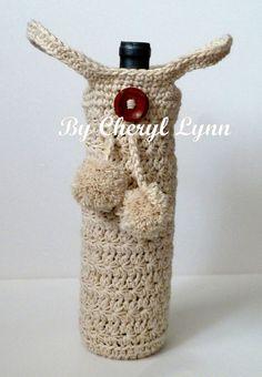 Crocheted Wine Bottle Sweater Wine Bottle Cover by ByCherylLynn