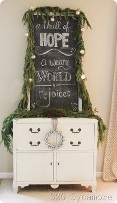 "Love the garland Nd orn to frame it! ""A Thrill of Hope, A Weary World Rejoices"" Silent Night christmas chalkboard 320 Sycamore Merry Little Christmas, Christmas Love, Christmas Signs, Rustic Christmas, Winter Christmas, All Things Christmas, Christmas Decorations, Holiday Decor, Xmas"