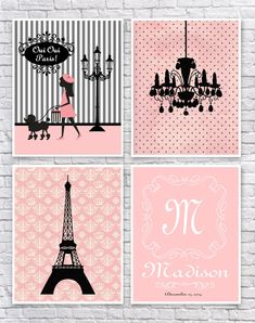 Girls Paris Bedroom Art, French Girls Wall Art, Paris Nursery Art, Paris Wall Decor, Pink and Black Art, Monogram, Chandelier, Eiffel Tower.