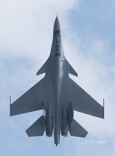 Sukhoi Su-30MKM fighter jet of the Royal Malaysian Air Force at the Singapore Airshow 2016.
