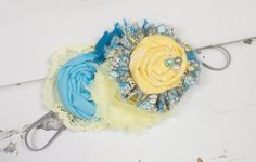 Merry Sunshine - headband in light blue, teal, grey, and yellow by SoTweetDesigns