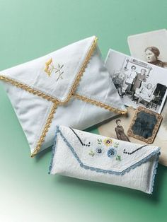 Sew pretty little pouches using vintage hand- or machine-embroidered linens and this free pattern.