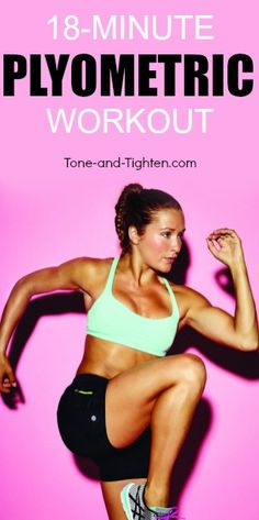 At-home plyometric cardio workout that only takes 18 minutes! From Tone-and-Tighten.com