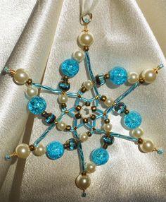 Beaded Star Snowflake Ornament/ Aqua Pearl Gold by FallnStars, $25.00