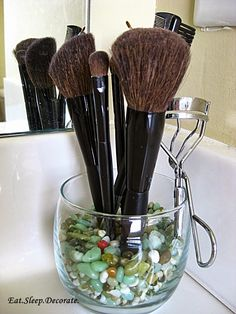 Idea for stage of uprights anywhere this from What on your.Bathroom Vanity? by Eat. Sleep. decorate