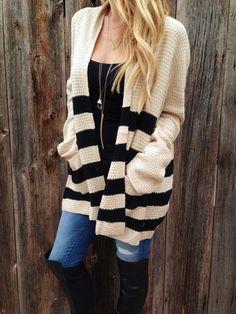 Colorblock Stripe Cardigan
