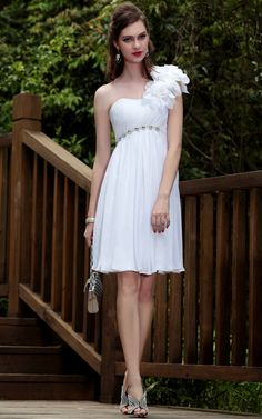 Find affordable custom empire one shoulder chiffon floral short wedding dresses, bridal dresses, short, mini wedding dresses, wedding dresses at discount prices Bridal Dresses, Bridesmaid Dresses, Prom Dresses, Evening Dresses, Mini Dresses, Dress Prom, Chiffon Dresses, Quinceanera Dresses, Formal Dress