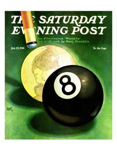 """World as Cue Ball,"" Saturday Evening Post Cover, January 25, 1941 Giclee Print by Emmett Watson at AllPosters.com"