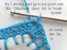 Hekel Idees: Tutoriaal: Hoe om 'n randjie om te hekel. Knitting Patterns Free, Stitch Patterns, Free Pattern, Crochet Patterns, Pattern Library, Hoe, Crochet Stitches, Afrikaans, Crochet Necklace