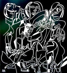 Anarchy by Melissa Bates. Visit www.visualemporium.com.au to learn more about Melissa's cutout art. #art #creative #cutout #group #nude #confusion #excitement #figures #blackandwhite