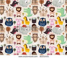 cartoon animal seamless pattern by notkoo, via Shutterstock