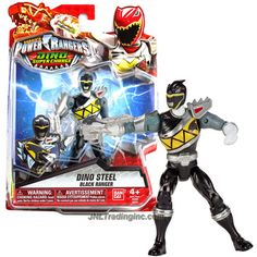 Bandai Year 2015 Saban's Power Rangers Dino Super Charge Series 5 Inch Tall Action Figure - Dino Steel BLACK RANGER aka Chase with Para Chopper