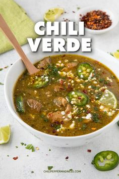 Chili Verde - This Chili Verde Recipe Is Made With Tender Pork Shoulder That Has Been Seasoned And Seared, Then Cooked Low And Slow In A Rich Verde Sauce Made From Roasted Tomatillos, Poblanos And Jalapeno Peppers. Via Jalapenomadness Pork Recipes, Mexican Food Recipes, Cooking Recipes, Healthy Recipes, Cooking Games, Spicy Food Recipes, Green Chili Recipes, Cooking Pasta, Camping Cooking