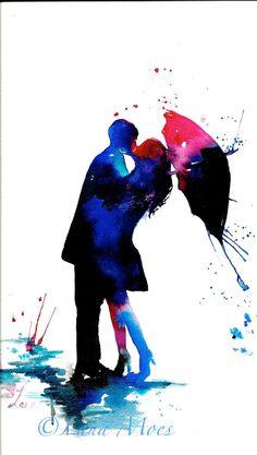 Love Kiss Rain Umbrella Print from Original Watercolor Painting, contemporary wall art illustration home decor