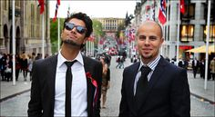 of May: Karpe Diem(norwegian band) - Chirag Rashmikant Patel (left) and Magdi Omar Ytreeid Abdelmaguid - celebrating of May in Norway Photo: Nils Bjåland My Music, Norway, That Look, Band, Celebrities, Cover, People, Celebs, Ribbon