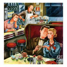 """Closing down a diner. """"Young Love After Closing."""" Illustration by Constantin Alajalov. Detail from Saturday Evening Post cover, July Photo Vintage, Vintage Love, Vintage Prints, Vintage Romance, Vintage Advertisements, Vintage Ads, Vintage Images, Vintage Graphic, Vintage Humor"""