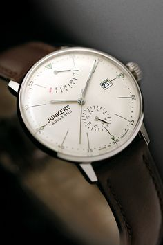 Junkers - 6060-5 Junkers Bauhaus series watch - http://www.pointtec.de/junkers/6060-5/ | Beautiful watch. I don't like wearing them but I'd wear this one.
