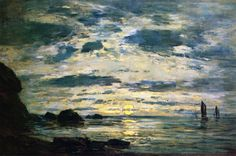 Eugene Boudin, Sunset over the Sea, 19th c, oil on panel