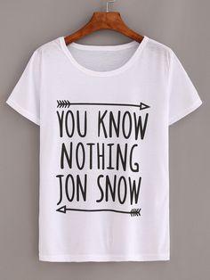 T-shirt motif lettres - blanc-French SheIn(Sheinside)