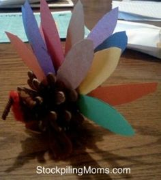 Thanksgiving Craft - Turkey Pinecone Craft