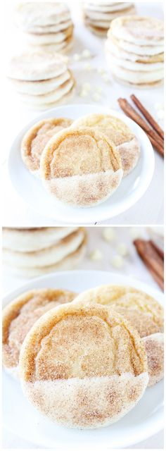 White Chocolate Dipped Snickerdoodle Recipe on twopeasandtheirpo. These are the BEST snickerdoodles! They are pretty too! Baking Recipes, Cookie Recipes, Dessert Recipes, Just Desserts, Delicious Desserts, Yummy Food, Holiday Baking, Christmas Baking, Christmas Treats