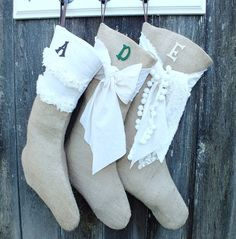 BURLAP CHRISTMAS STOCKING Linen Bow  Rustic by TiddlywinkDesign, $26.00