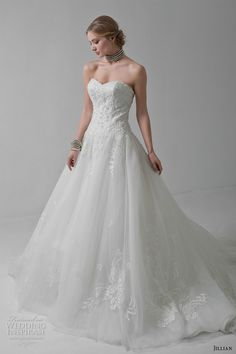 jillian 2017 bridal strapless sweetheart neckline heavily embellished bodice classic a line wedding dress chapel train (marlene) mv