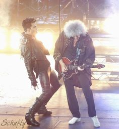Brian May & Adam Lambert, London show, 12th July 2012 | Source: Schufly
