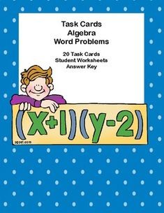 20 Algebra Word Problem Task Cards to provide reinforcement to build fluency.Student worksheets and answer key are included. I've provided two types of answer sheets for your students. The cards can also be used for scoot, small groups, and Teaching Resources, Teaching Ideas, Picture Cards, Word Problems, Algebra, Task Cards, Math Lessons, Small Groups, Second Grade
