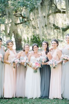 Mismatched bridal party, grey and blush colored bridesmaid dresses, long formal gowns, bouquets of pastel roses // Aaron and Jillian Photography Blush Colored Bridesmaid Dresses, June Bride, Long Formal Gowns, Blush And Grey, Pastel Roses, Wedding Vendors, Wedding Ideas, Bridesmaids And Groomsmen, Southern Weddings