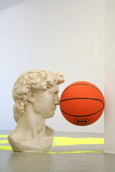 iheartmyart:  Daniel van Straalen, All Surface, David sculpture, basketball, 47 x 48 x 28 cm. Part of the exhibition, Juliaan Andeweg, Bob E...
