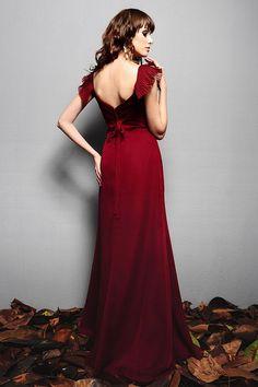Romantic Baby Doll Chiffon Burgundy Maxi Dress with Sleeves#DesignerDress #CheapDress  #MaxiDresses  #EveningDresses #PlusSizeMaxiDresses  #Fashion  #PromDress