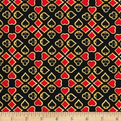 Kanvas Casino Royale Suits Foulard Black from @fabricdotcom  Designed by Maria Kalinowski for Kanvas Studios in association with Benartex, this cotton print is perfect for quilting, apparel and home decor accents.  Colors include black, grey, red and gold.