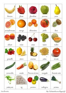Fruits & vegetables in french - French Language Lessons, French Language Learning, French Lessons, French Flashcards, French Worksheets, French Teaching Resources, Teaching French, Teaching Kids, French Tenses
