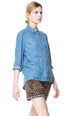 Image 1 of ASYMMETRIC DENIM SHIRT from Zara