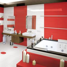 Photo features Red & White Gallery field tile.