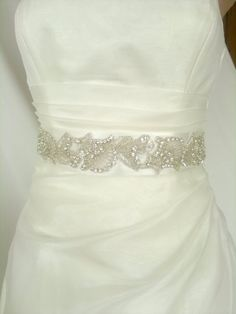 Beadwork  Wedding Sash/Belt,Bridal Sash,Rhinestone Sash,Beaded Sash, Satin Wedding Sash by elitewomen on Etsy