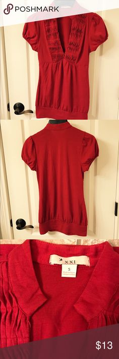 ❤Trendy Forever 21 Red Cap Sleeved Shirt! 🎉 ❤Trendy Forever 21 Red Cap Sleeved Shirt! 🎉. So trendy, great fit and perfect shirt to wear out! 😀 Bundle to save on shipping! Forever 21 Tops