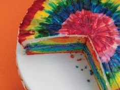 Today I am sharing a cake that is guaranteed to brighten your day! Look at all those beautiful R A I N B O W colors... This ca...