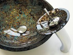 Sinks and Faucets -- Glass Vessel Sink with Matching Faucet