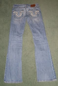 Women's Blue BIG STAR SWEET BOOT ULTRA-LOW RISE Distressed Jeans, Size 24R X 30 #BIGSTARSWEETBOOTULTRALOWRISE #CountryWesternFlareEmbroideredPocketsJeans