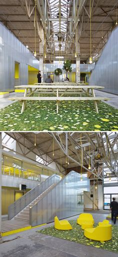 """m smitten with this office design by Ector Hoogstad Architecten. Located in Rotterdam, the converted steel mill now houses a bright, airy office space. My favorite detail? The """"outdoor"""" seating and eating areas!"""