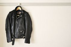 fashionable black leather jacket