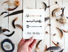 Follow your Arrow  Painting Postcard  Watercolor Art