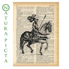 Medieval knight on horseback dictionary print- N01 on Upcycled Vintage Dictionary page - by NATURA PICTA
